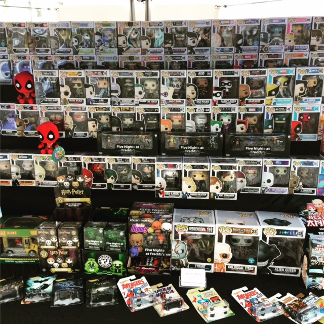 The Carsun's Bazaar toys and collectables stall in Alnwick Market, Northumberland, with an impressive show of Funko Pops.