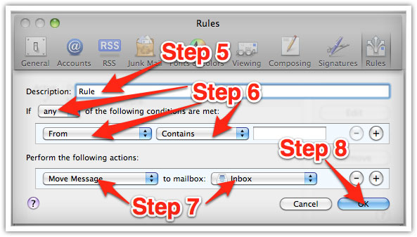 How to whitelist emails in Mac Mail.