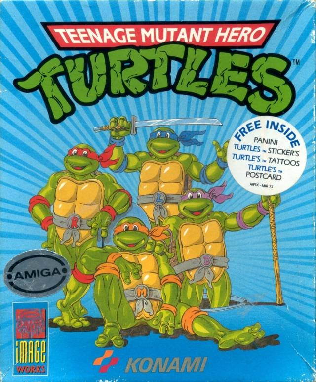 The box for the Konami video game (which we had on our Amiga back then), shows the censored name Teenage Mutant Hero Turtles - not a ninja in sight!