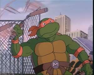 This sight was unknown to kids in the UK back in the 80s - Michaelangelo twirling his nunchaku!