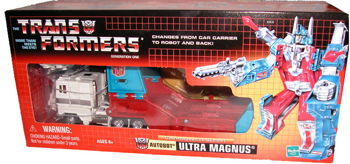 The original Ultra Magnus toy still in box. Mine looked like that for about 2 minutes on Christmas morning.