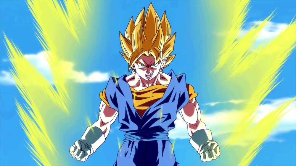 Toei Animation/Funimation - Dragon Ball Z - Goku goes Super Saiyen in battle.