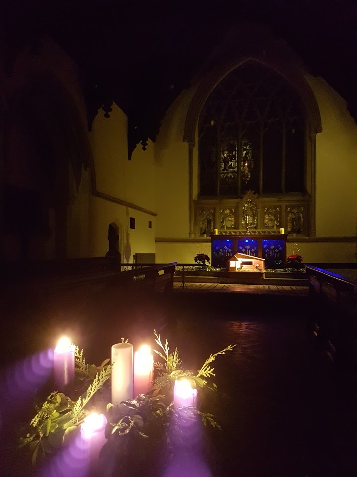 Advent wreath, St Mary Magdalene's at evening prayer. Taken by the Rector, December 2016