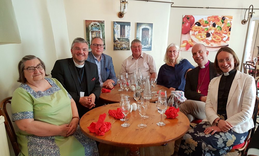 The Bishop and his chaplain with (in no particular order) Woodstock churchwardens Michael Holmes and Gill Morris, Adrian, Megan, and Michael's wife Carol.