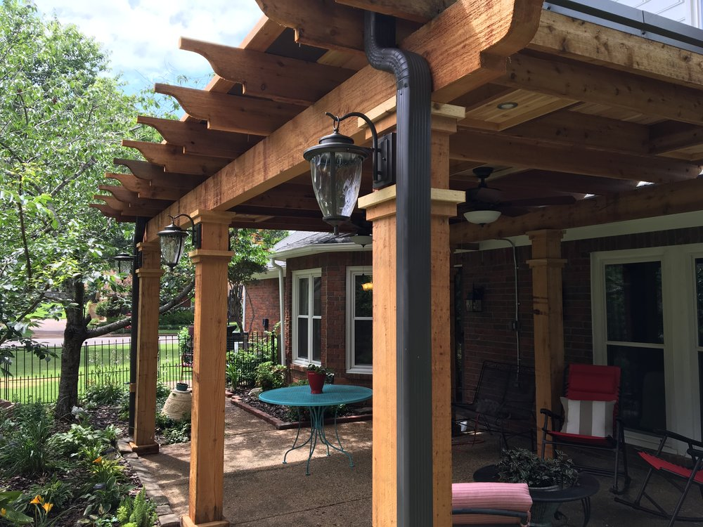 Cedar V-Joint Pergola We developed a gutter system to help this pergola deflect rain and provide full shade coverage for the customer's back patio.
