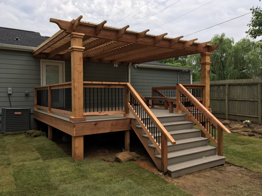 East Memphis Deck/Pergola This deck, made from Choice-Dek, made the - Attached Pergolas And Decks — Peaceful Settings
