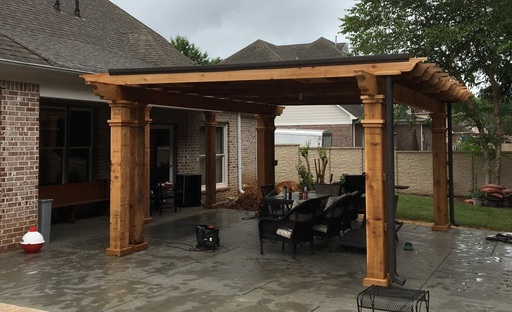 Solid Cedar V-Joint Pool Addition Built near the end of a pool, this pergola gave the customer a nice area to cook, visit, and enjoy some company.