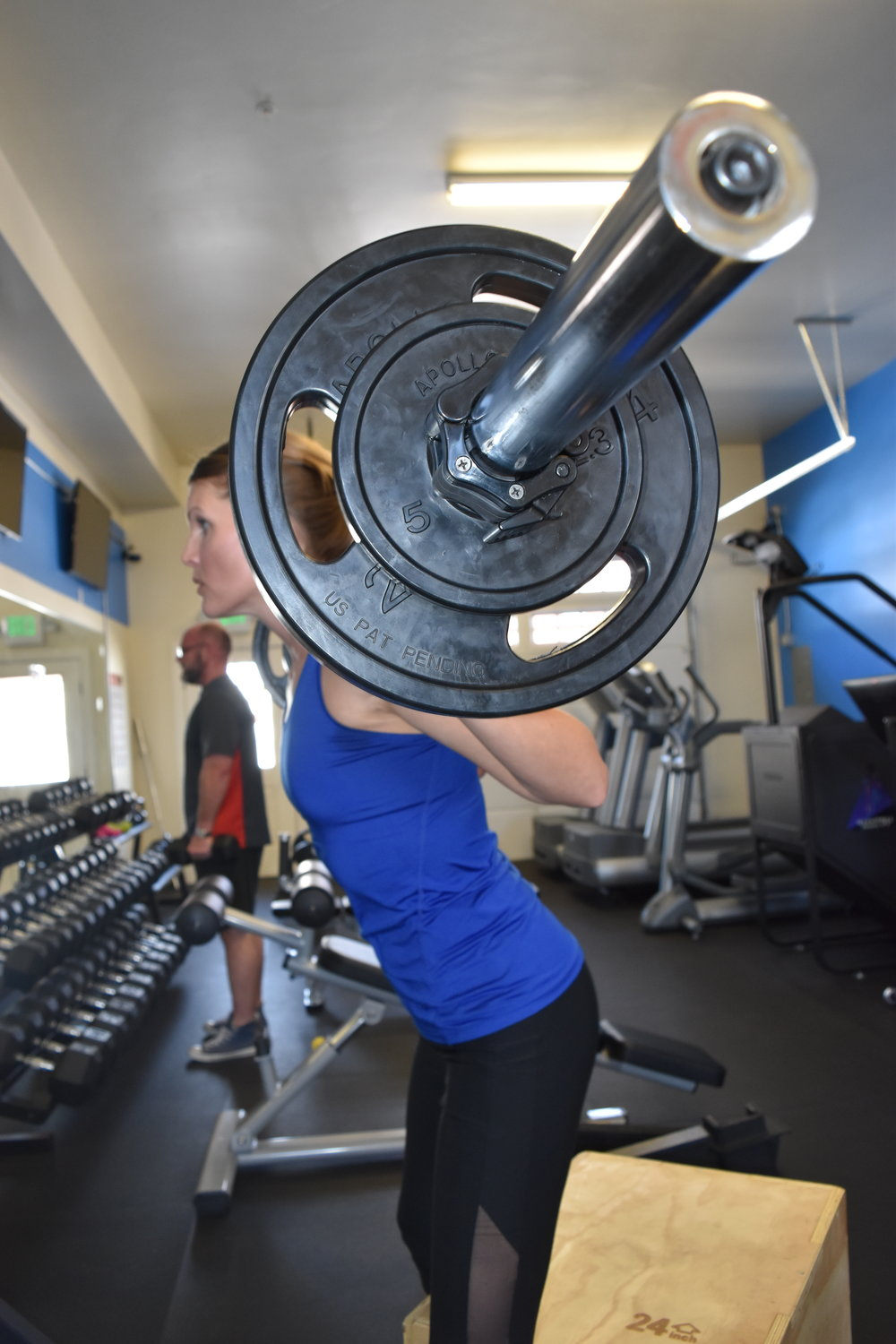 kristin weight training squats exercise lifting crested butte gym.JPG