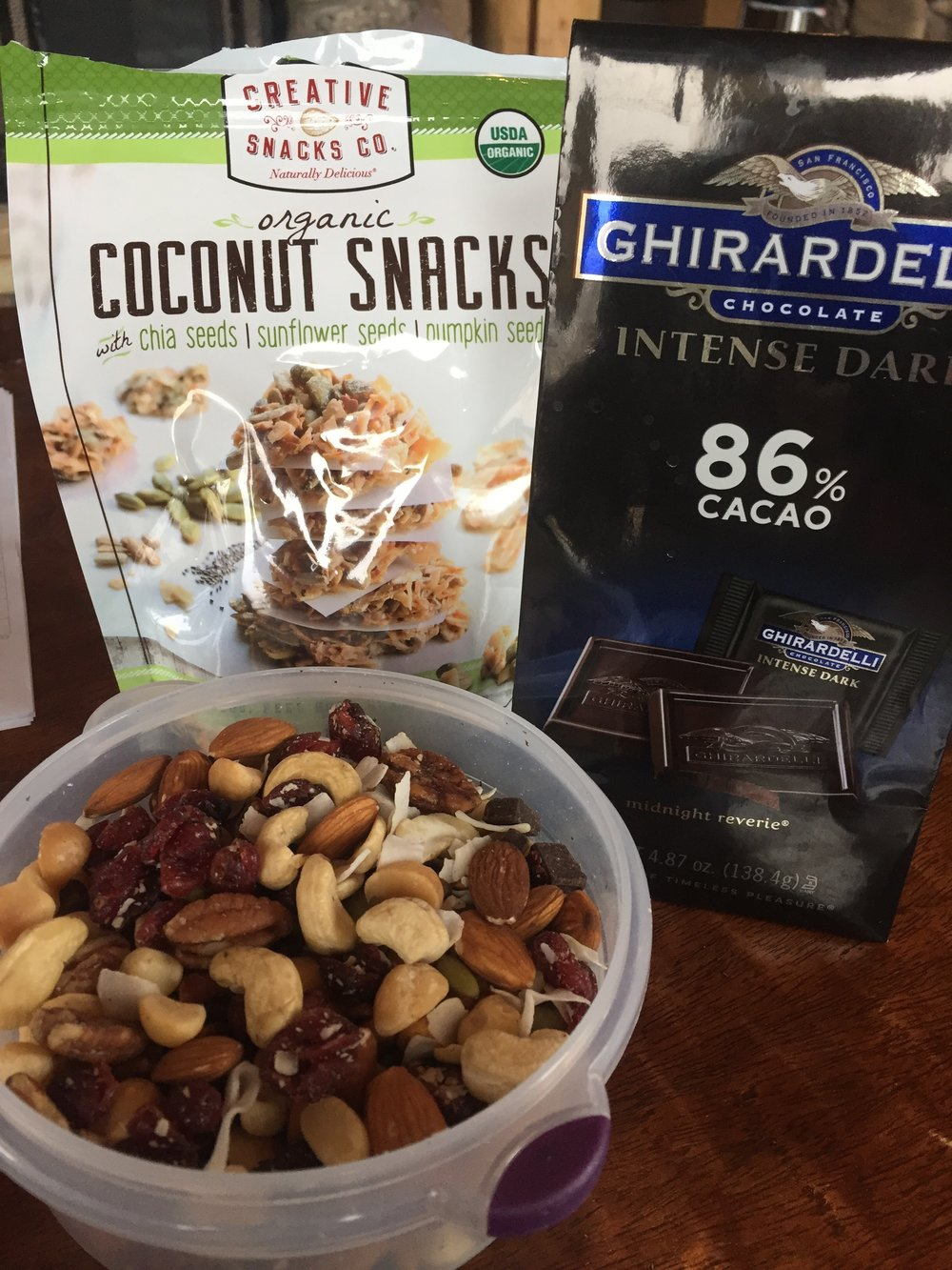 Some of my favorite snacks, including, an omega-3 mix that tastes incredible!