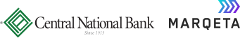 Logos for Central National Bank and Marqeta