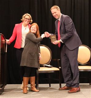 Tobias Read receiving Champion of Change Award from National Down Syndrome Society