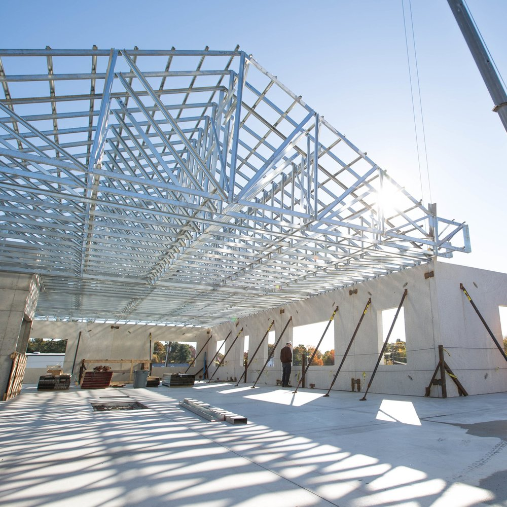 Shea Concrete   New Construction Custom Metal Trusses Contractor: Saurman Construction Amesbury, Massachusetts