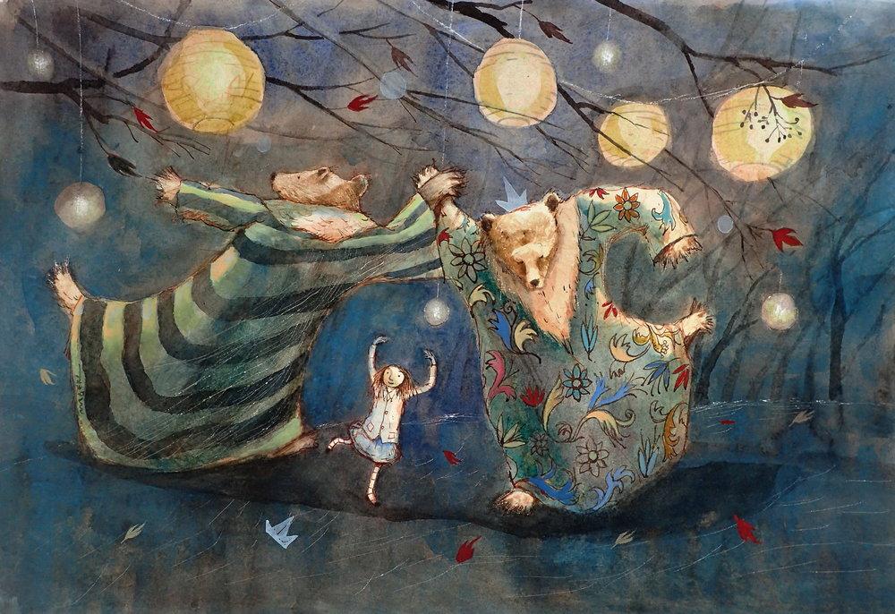 Dancing by tealights.JPG