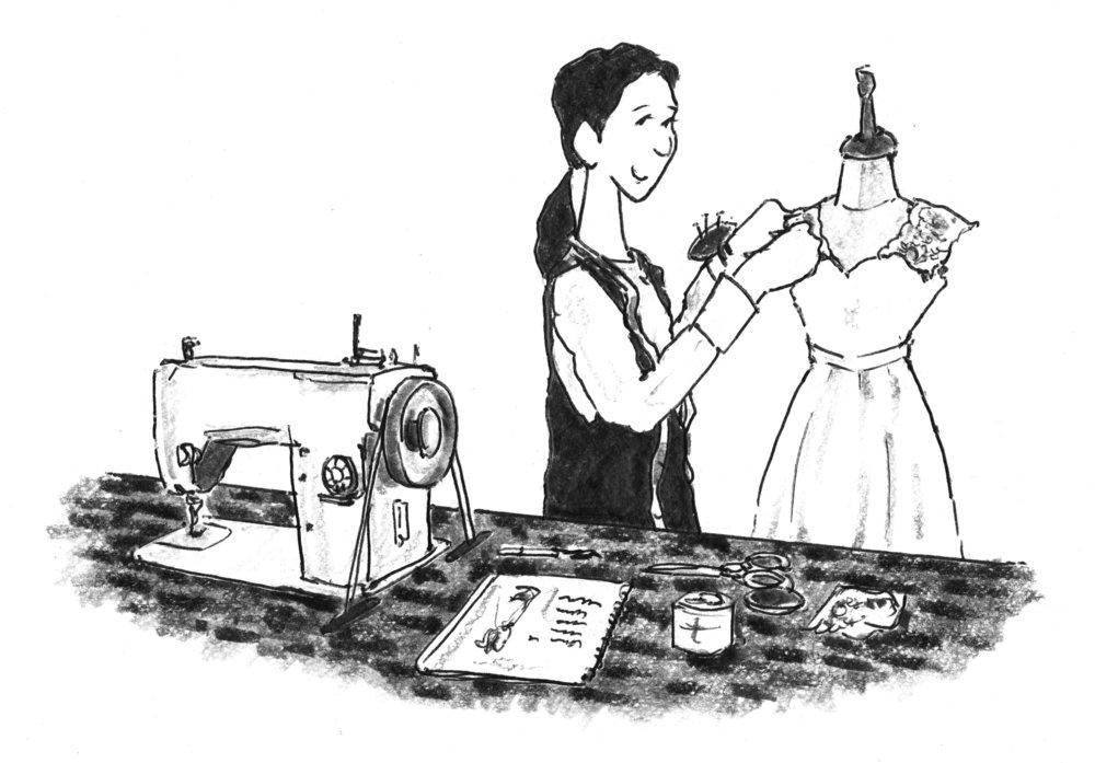 採寸に基づいてドレスのご調整/制作 -