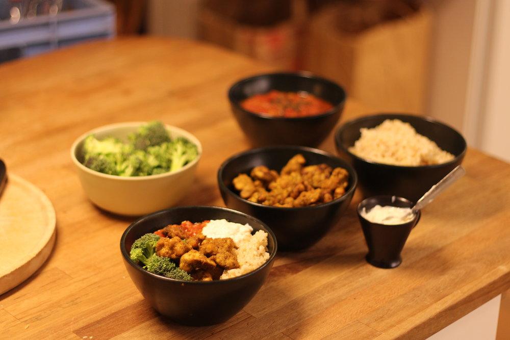 Bärta med curry och råris