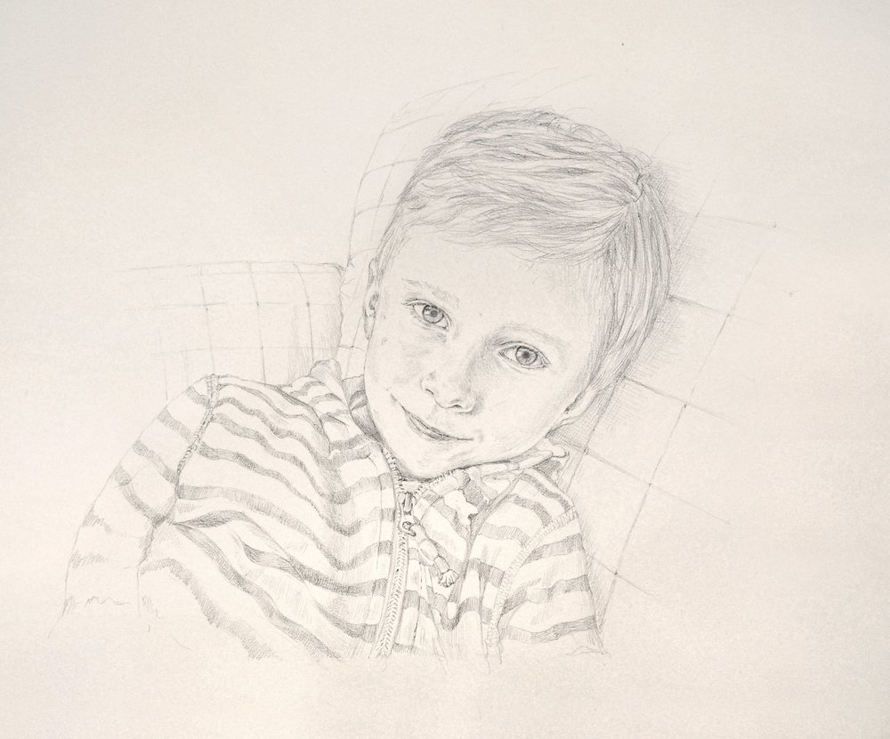 Boy on sofa, pencil on white hand made paper
