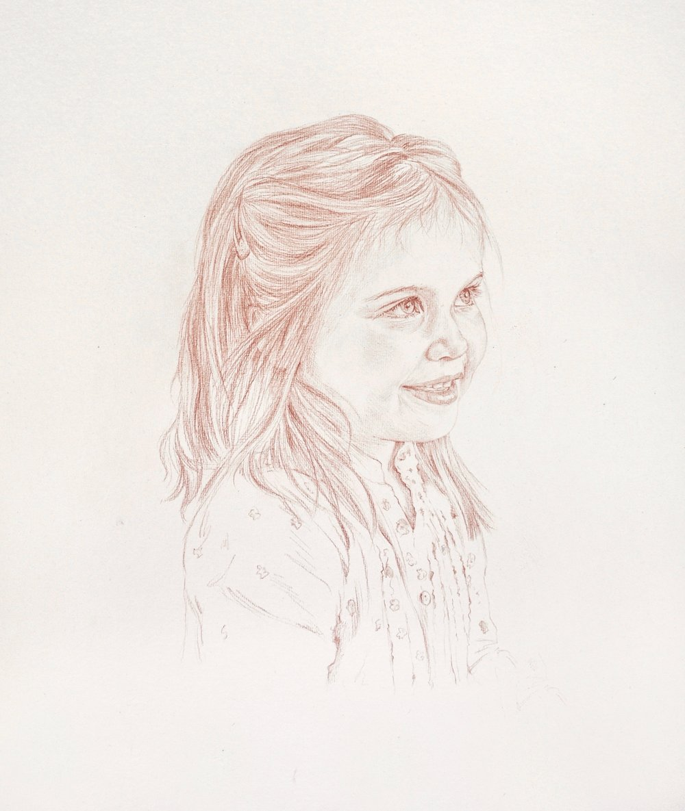 Girl, conte crayon on white paper