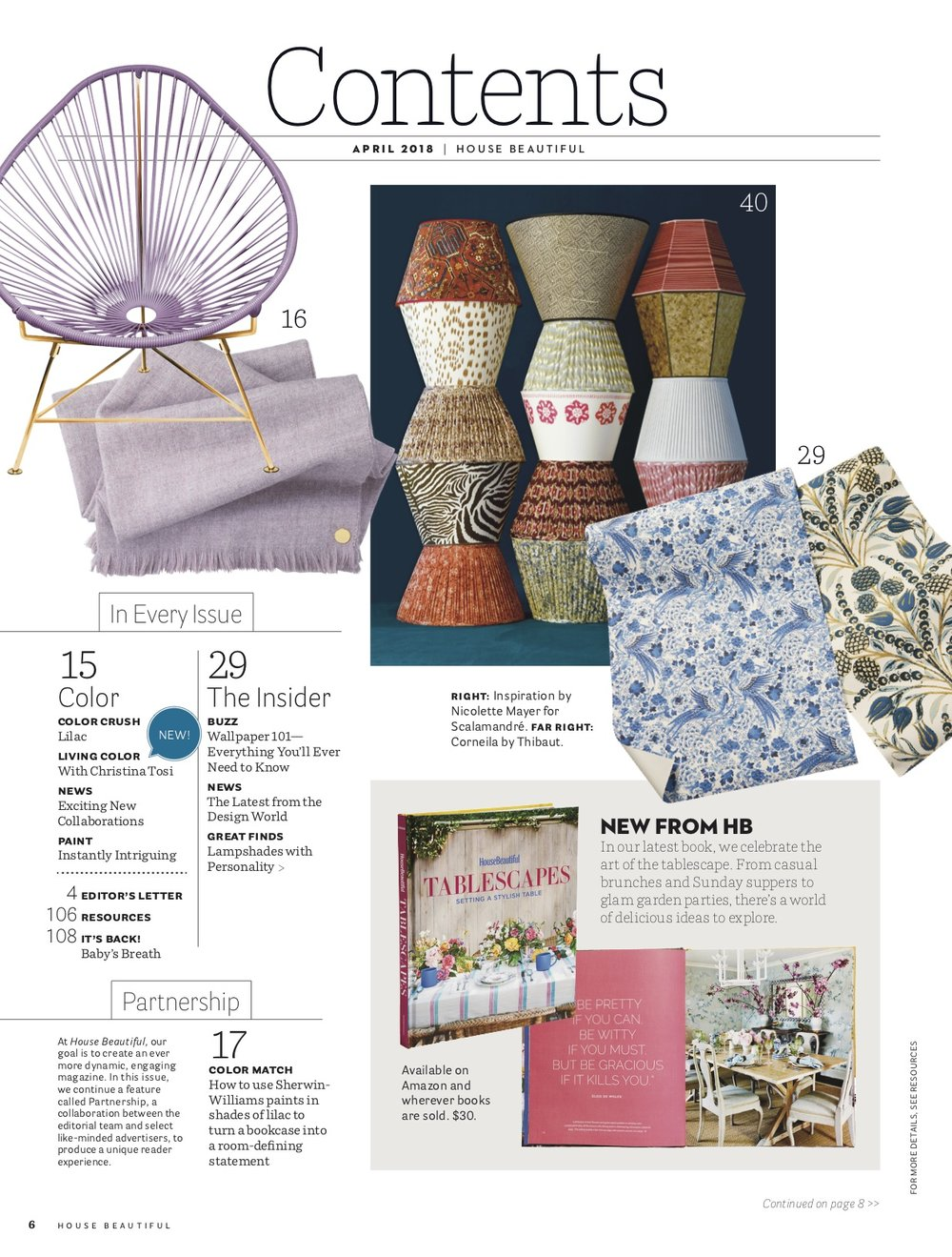 handpainted lampshade featured in House Beautiful US April 2018