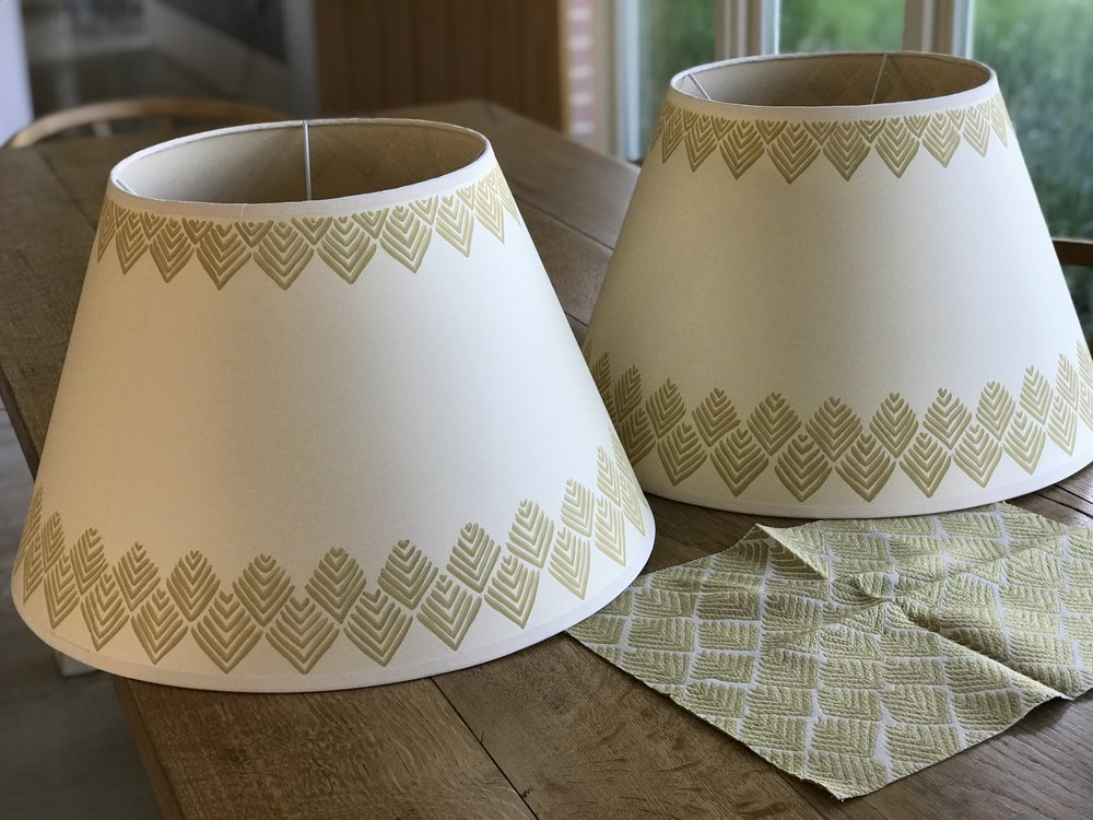 Bespoke painted lampshades to match Guy Goodfellow Indus Weave