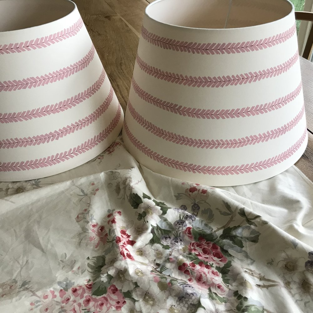bespoke lampshades painted to co-ordinate with a Jean Monro chintz