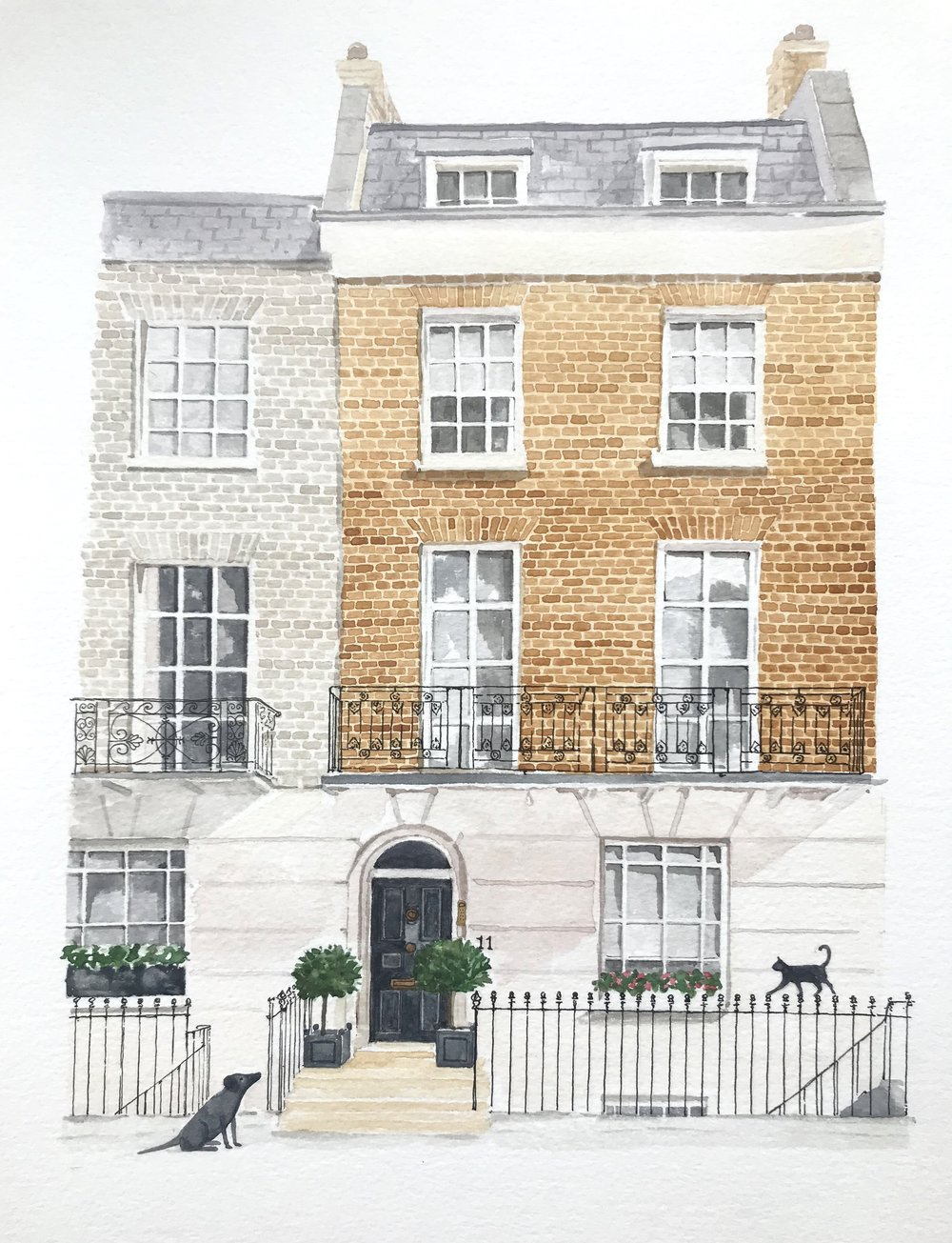 watercolour of a Georgian house in Chelsea