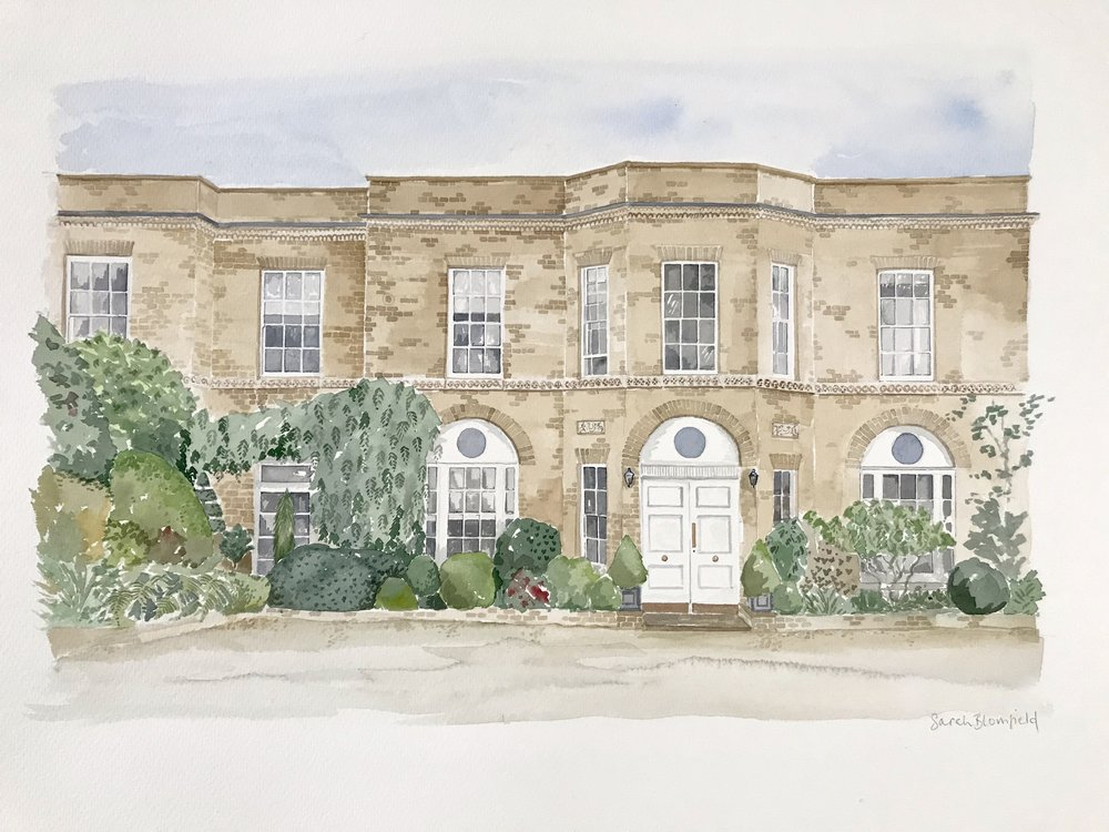 Country house, England. Watercolour