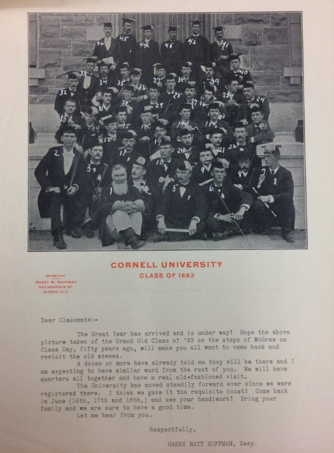 A class photo Joe found at Cornell University's Kroch Library includes the original owner of 705 North Cayuga Street. William Eaton is standing in the upper right corner, second in from the right (#42).