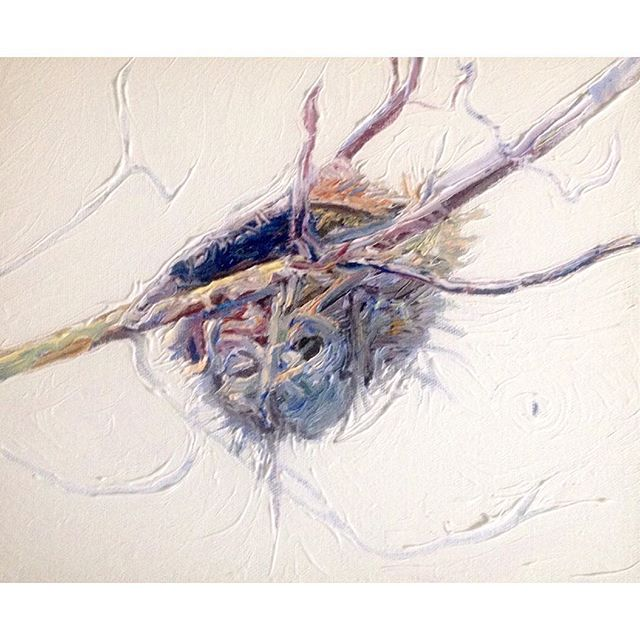 Filling up this humming bird nest with dreams.  Oil on canvas 2010.  For Sale ( pm if interested )