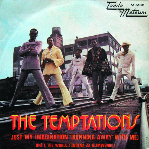 "Cover for the Temptations' single release of ""Just My Imagination,"" 1971, featuring vocalists Dennis Edwards, Melvin Franklin, Eddie Kendricks, Otis Williams, and Paul Williams."