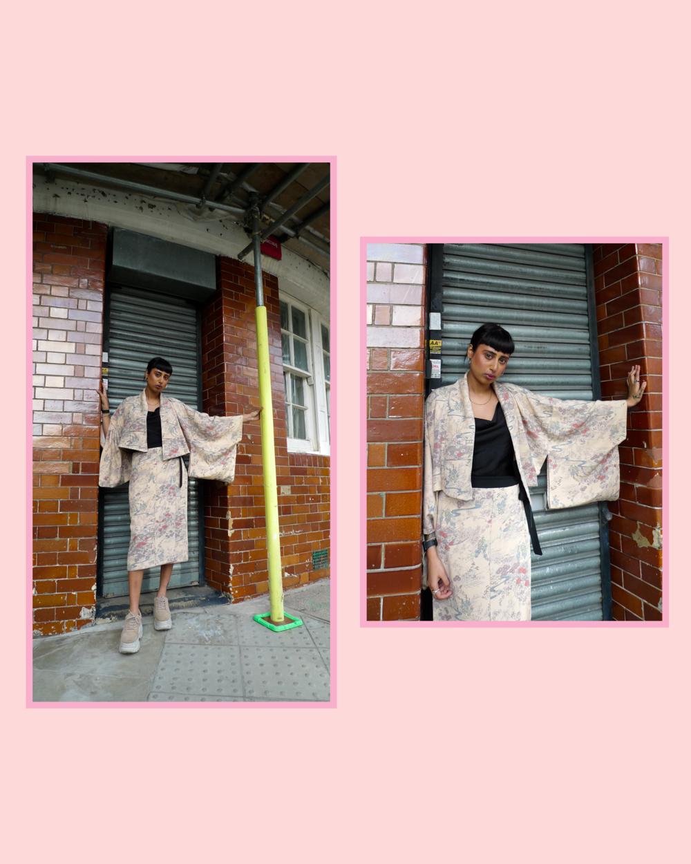 Sneha wears ATIKA Studio Kimono Jacket & Kimono Wrap Skirt. Reworked from a mid century Japanese Kimono.