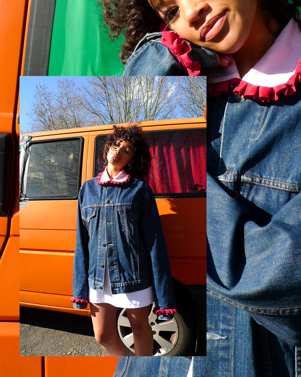 Rosie wears ATIKA Studio SS19 Ruffle Denim Jacket. Made from branded denim, silk shirt offcuts and 100% cotton.