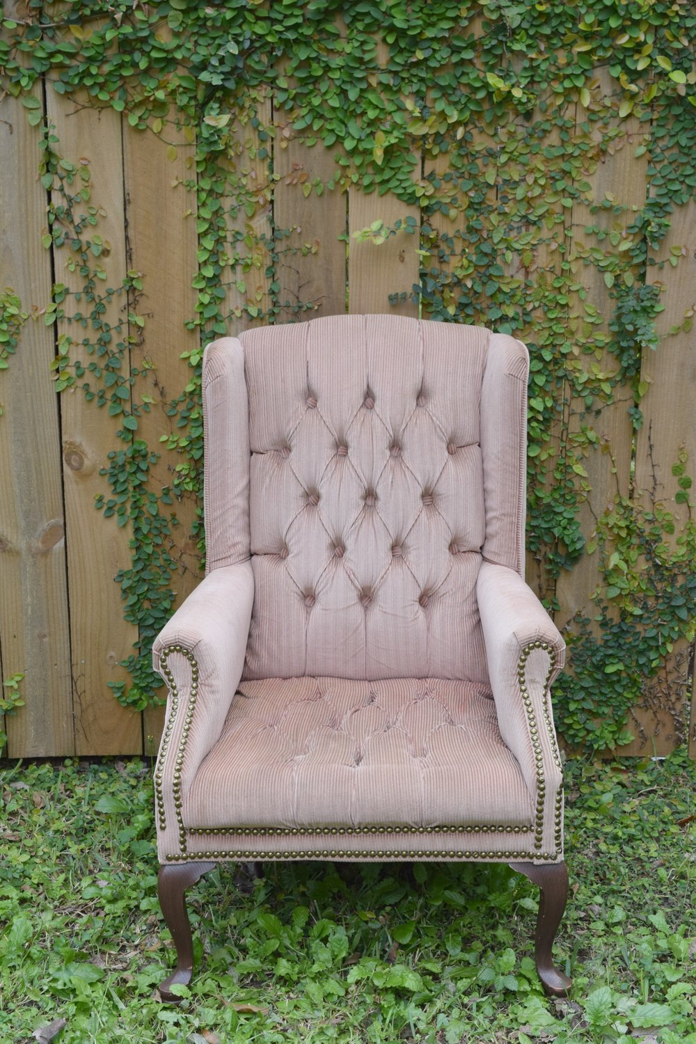 PINK WING BACK CHAIR