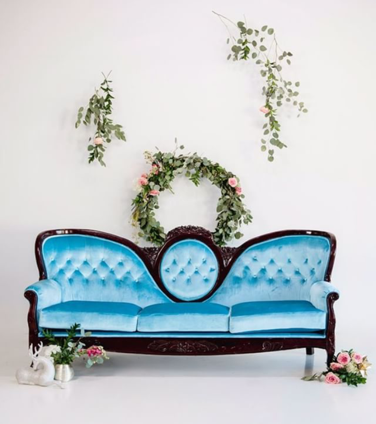 LARGE TIFFANY BLUE COUCH