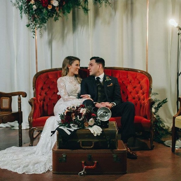 This mix of vintage and retro flare was one of our favorites! We love when clients have unique ideas to make their weddings more personal! #proprentals #vintage #decorandmorehouston