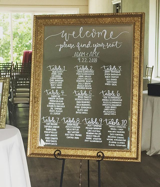 Last weekends welcome sign and seating chart in one! Amy and Adam had a beautiful wedding and we were so happy to be a part of it! #decorandmorehouston #rentvsbuy #customsigns
