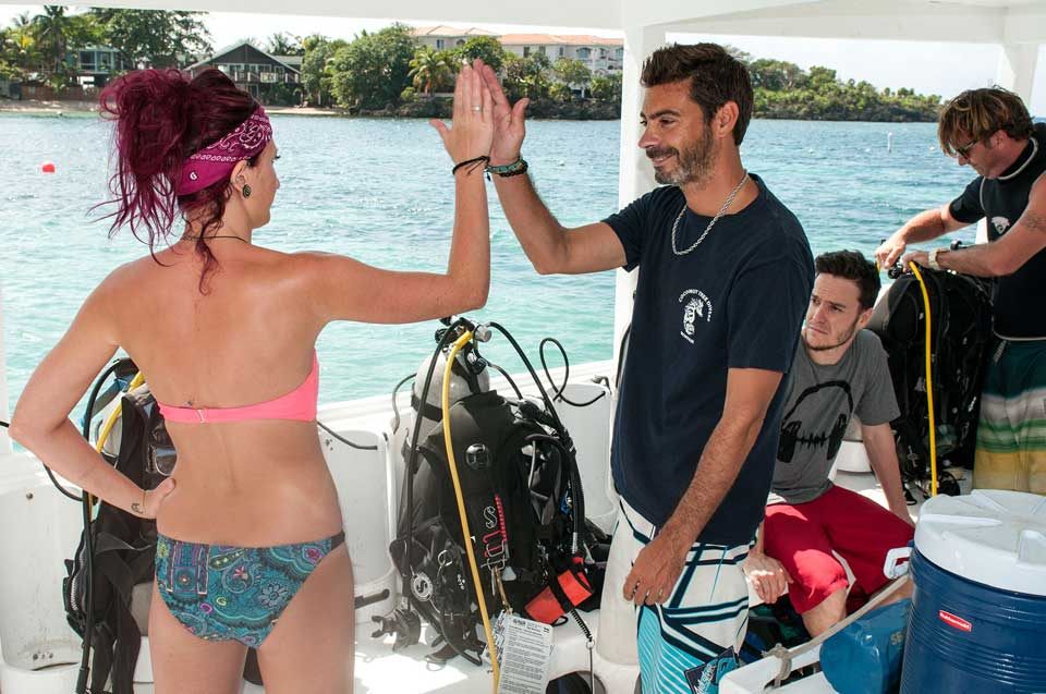 PADI Instructor teaching equipment setup