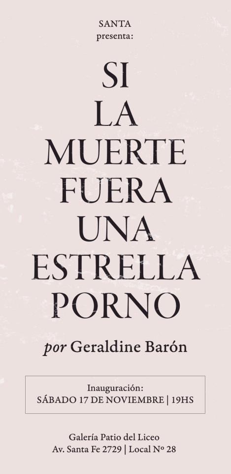 Flyer por Iara Kremer para la muestra de G. Barón