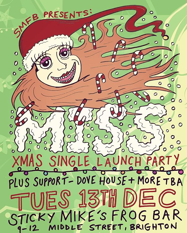 BRIGHTON peeps! Tonight's the night of the MISSmas party. Get in touch for £3 guest list. Doors at 7:30pm  MISS 9:30 - 10:15 DOVE HOUSE 8:45 - 9:15 THE BLACK TUBES 8:00 - 8:30  See yz there! MISS x - - - #brighton #brightonrocks #brightonandhove #stickymikes #stickymikesfrogbar #newmusic #sussex #brightonnightlife #xmas #christmas #party #sussexuni