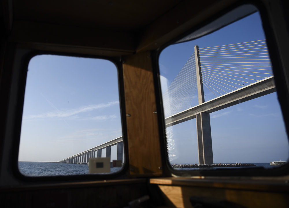 The underside of the Sunshine Skyway Bridge in Tampa Bay is seen from the bridge of the R/V Bellows as it makes its way out into the Gulf of Mexico.