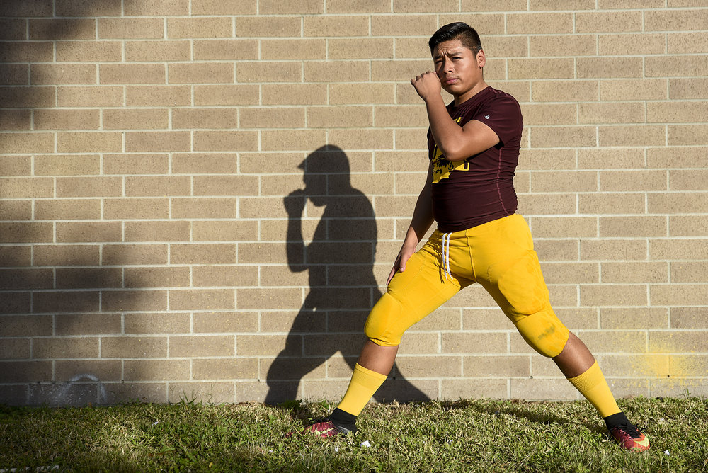 Glades Central kicker Gregorio Gomez (40) stretches before the game between Pahokee and Glades Central at Glades Central on Friday, November 3, 2017