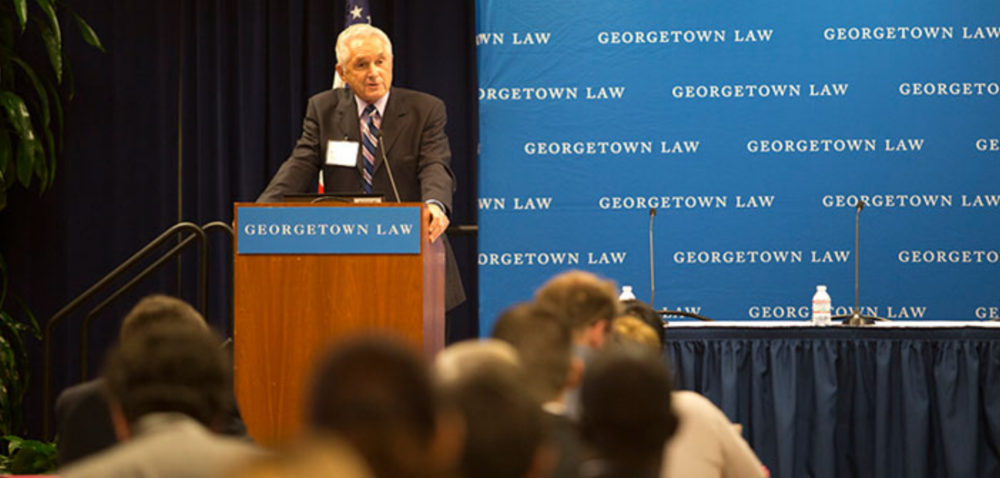 Judge S. Jay Plager of the U.S. Court of Appeals for the Federal Circuit delivers the keynote address at Georgetown Law's Patent Law & Policy Conference in November 2015.