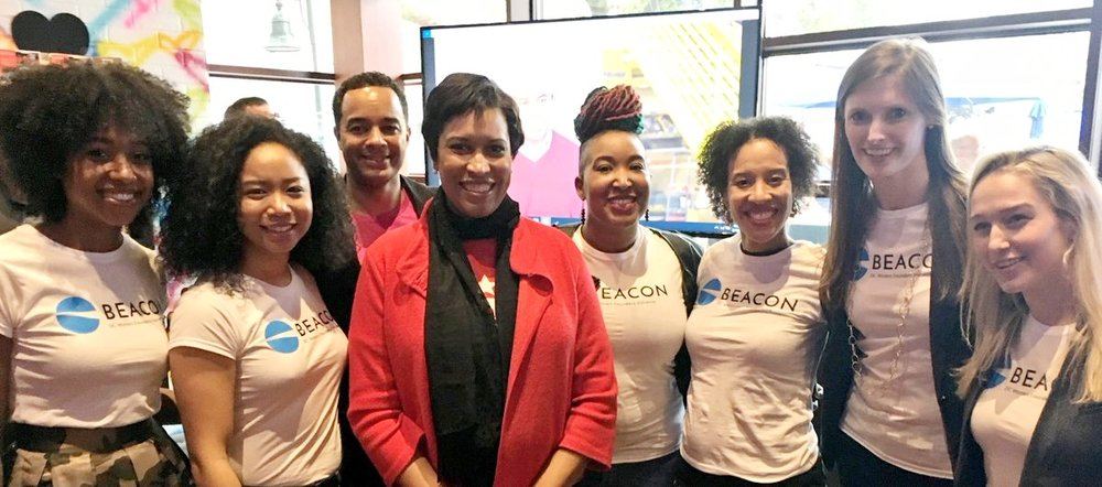 Tech Institute Fellow Deloris Wilson (L'16) (far left), D.C. Deputy Mayor Brian Kenner, D.C. Mayor Muriel Bowser, Institute Executive Director Alexandra Givens (second from right) and members of the BEACON Board at SXSW 2017