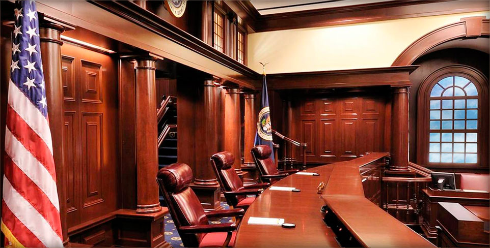 The ceremonial courtroom of the U.S. Court of Appeals for the Federal Circuit, where Tech Law Scholars met with Judge Richard Linn (L'69) this month.