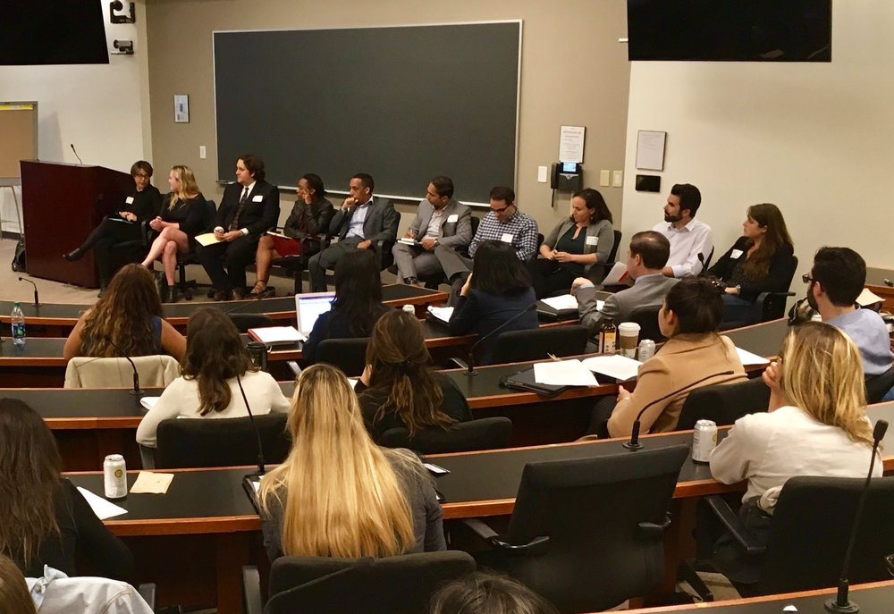 Panelists speak at a workshop on Tech Careers in the Public Interest
