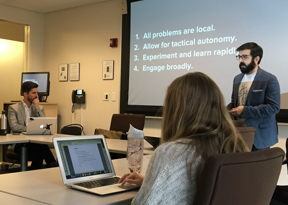 Professors Keith Porcaro (r) and Jason Tashea (l) teach Georgetown's new class on the use of technology in the criminal justice system
