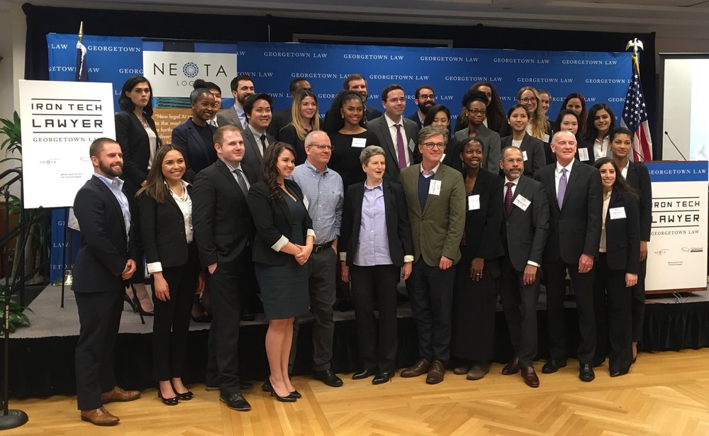 Students, faculty and judges at Georgetown's 2018 Iron Tech Lawyer Competition.