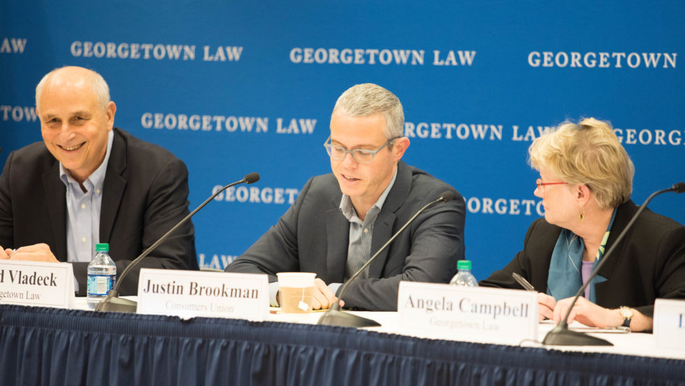 """Professor David Vladeck, Justin Brookman of Consumers Union and Professor Angela Campbell at """"COPPA at 20: Protecting Children's Privacy in the New Digital Era""""."""