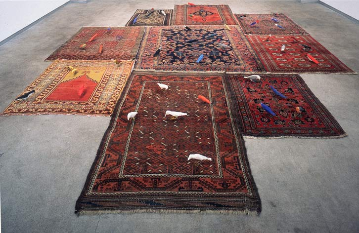 East Meets West (Birds and Carpets)   , Asian carpets, gouache over papier-mache & chicken wire birds.   Variable Dimensions