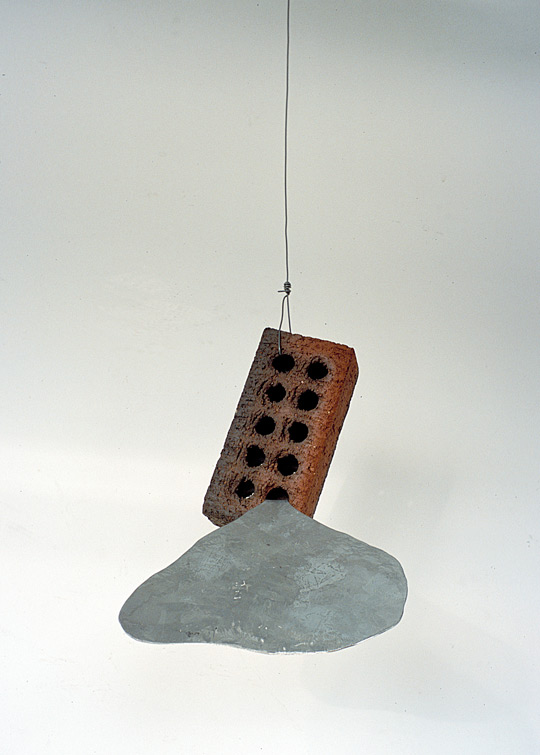 Ignatz, 2001,   galvanized steel & brick, 4 x 9 x 7 inches / 10.2 x 22.9 x 17.8 cm