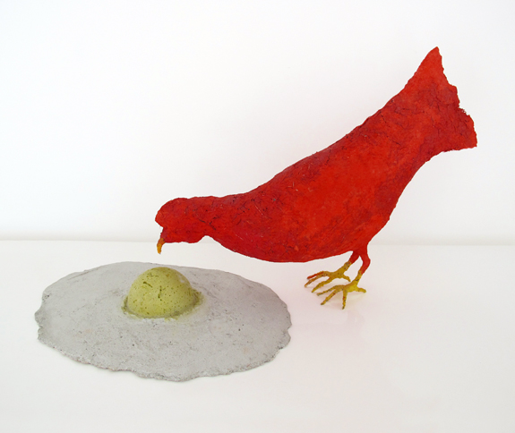 Chicken and Egg, 2009,    papier-mache, chicken wire, cement, pigment & copper tube,   14 x 36 x 14 inches / 35.6 x 91.4 x 35.6 cm